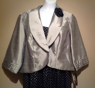 2pc Dress suit, mother/ grandmother of the bride? silver/ navy beautiful 18w nwt