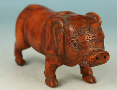 chinese Collect No Plastic Hand Carving Pig Statue Noble