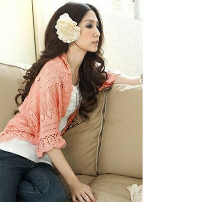 Lady Puff Sleeve Cardigan Knitted Hollow Top Sweater Casual Outwear Coat Cheaply