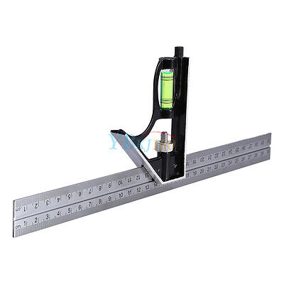 "12"" Adjustable Sliding Combination Try Square Right Angle Ruler Machinist Tools"