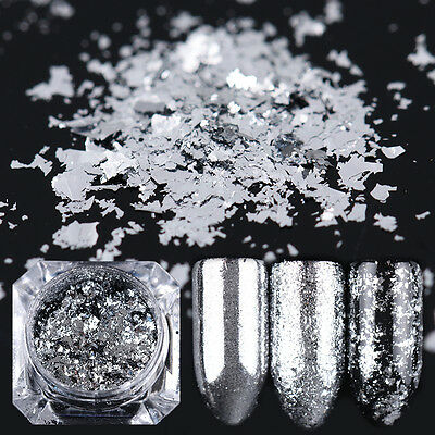 Silver Flakes Bling Nail Sequins Mirror Glitter Powder Paillette BORN PRETTY