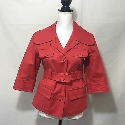 Kensie Women's Double Breasted Belted Coat Jacket Blazer Size M