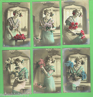 #N. SET 6 POSTCARDS - YOUNG WOMAN WITH  FLOWERS, about 1912