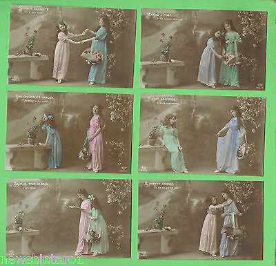 #N. SET 6 POSTCARDS - TWO YOUNG GIRLS  WITH  FLOWERS, about 1912