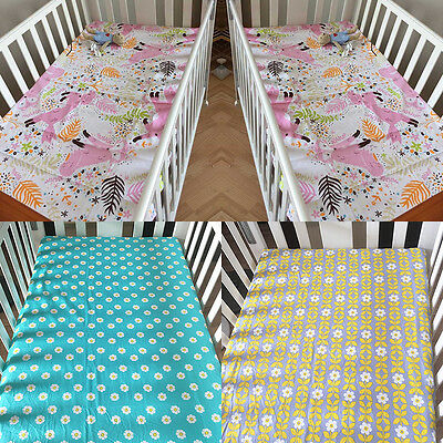 Infant Baby Boy Girl Crib Fitted Sheet Cot Bedding Sheets Dust Ruffles ZENG