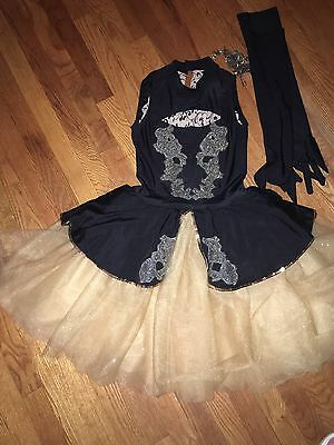 Ballet Dress By Revolution Dancewear Black /gold Excellent Size Adult Small