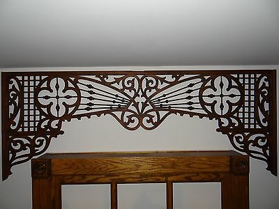 "Antique pine Wood Stick Ball Fretwork Architectural 60""x23"""