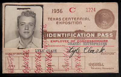 1936 TEXAS CENTENNIAL EXPO PHOTOBOOTH PHOTO ID EMPLOYEE CARD CUTE BLOND MAN gay