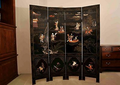 Antique Four-Panel Chinese Lacquered Coromandel Soapstone Screen