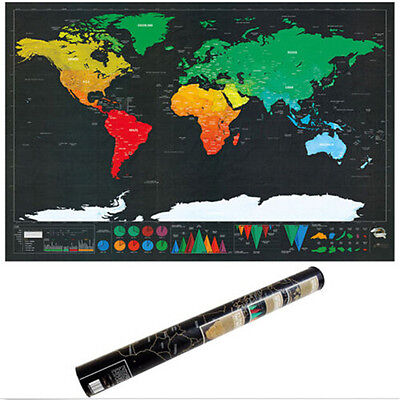 Deluxe Scratch Off World Large Edition New Poster Travel Map Personalized 1Piece