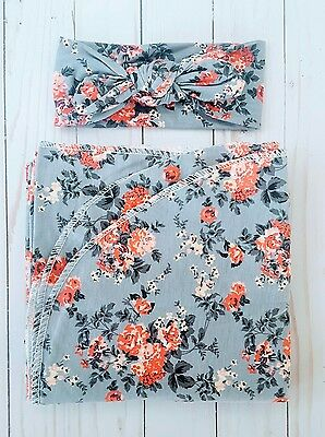 Newborn Girl Baby Headband Swaddle Set blanket Grey Floral Baby Shower Gift