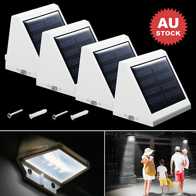 4X 4LED Solar Powered Gutter Fence Light Outdoor Garden Wall Pathway Lamp Bright