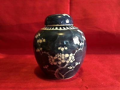 Vintage Chinese Cobalt Blue & White Cherry Blossom Ginger Jar