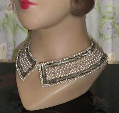 Vintage Faux Pearl Collar~1950s~Dress, Prom