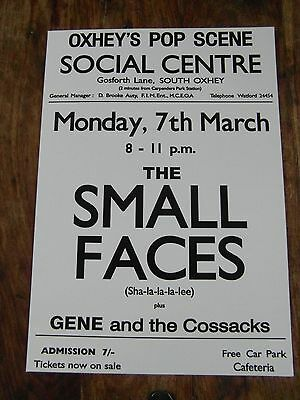 The Small Faces - Concert Poster - Mint Condition - A3 Size - Thick Card