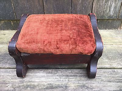 Antique Victorian Child Wood Footstool Kneeling Stool Velvet Cushion Primitive