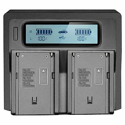 LCD Dual 2-Battery Charger für Sony NP-F970 F960 F950 F770 F750 F550 Ladegeräte
