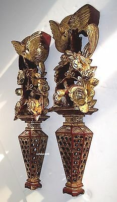 Chinese c.1900 Pair of Pierced Gilt Wood Basket Work Tapering Wall Appliques