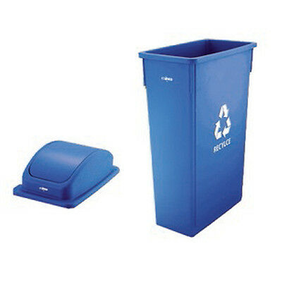 """Winco PTC-23L, 23-Gal Slender Recycle Can with """"Recycle"""" Sign, Blue"""