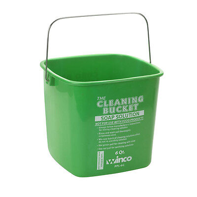 Winco PPL-6G, 6-Quart Cleaning Bucket, Green Soap Solution