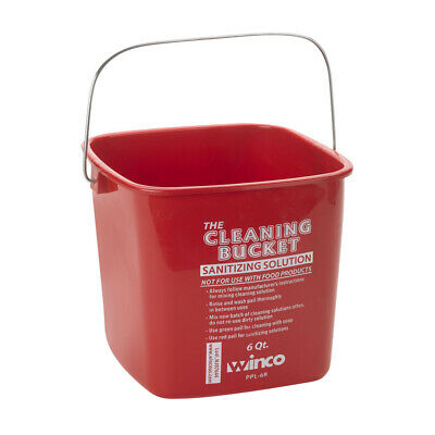 Winco PPL-6R, 6-Quart Cleaning Bucket, Red Sanitizing Solution