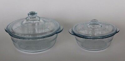 "Lot of 2 FIRE KING Blue PHILBE Glass COVERED CASSEROLE DISHES 4.5"" & 5.5"" Dish"
