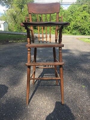 Early 1900s Antique High Chair Oak With Metal Tray