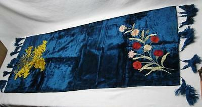Blue Velvet Piano Shawl Embroidered Crewel Vintage Victorian Buffet Table Runner