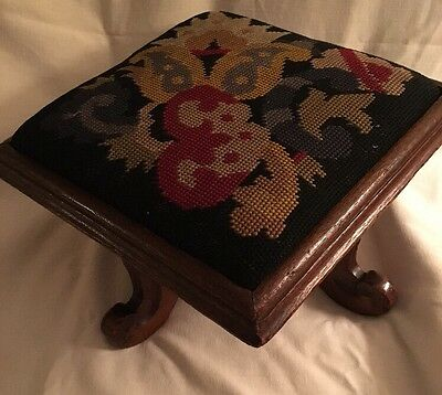 Antique Arts & Crafts Foot Stool Ottoman Black Needlepoint Oak?