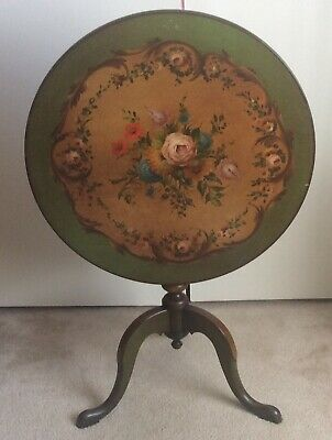 Vintage Table Flip Top Hand Painted Roses