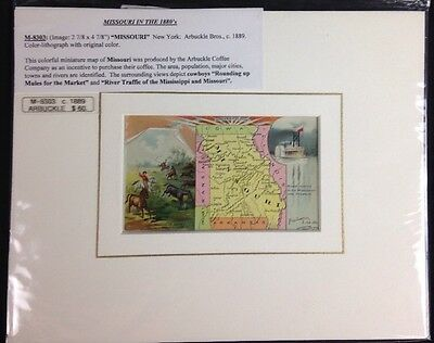 Arbuckle Coffee Company 1889 Missouri Map Chromolithograph Authentic Certified