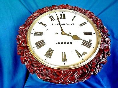 Fabulous Carved Mahogany Double Fusee Wall Clock.