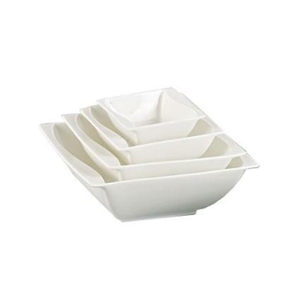 "Yanco SW-506, 15 Oz  5-1/4"" Sea Wave Bone White China Square Salad Bowl, 3"
