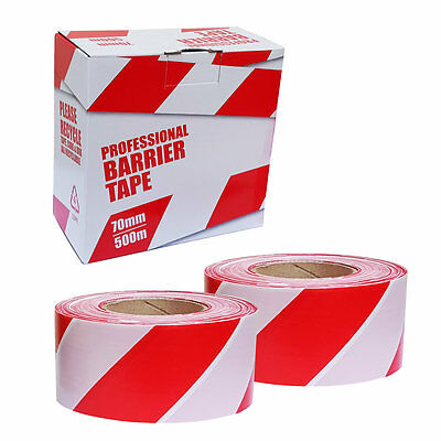 2 Rolls Safety Hazard Warning Barrier Tape Non Adhesive Red & White 70mm x 500m