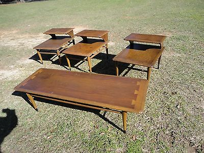 Mid Century Modern  Lane Coffee and  three end tables  Dovetail