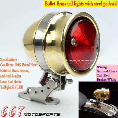 Brat Bullet Solid Brass LED Taillight With License Plate Light For Cafe Racer