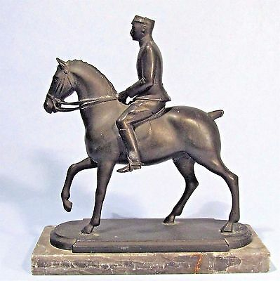 Denmark's King Christian X Bronze Sculpture By Galster '41 Old Equestrian Statue