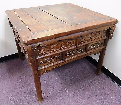 """Antique Chinese Temple Alter Table 42"""" x 42"""" x 34""""H"""