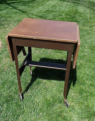Vintage Typewriter Stand - Cart - Drop Leaves - With Casters - Wood Top