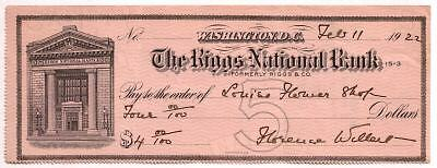 RARE 1910's RIGGS NB WASHINGTON DC CHECK w BANK BLDG! SCANDAL RIDDEN BANK! READ