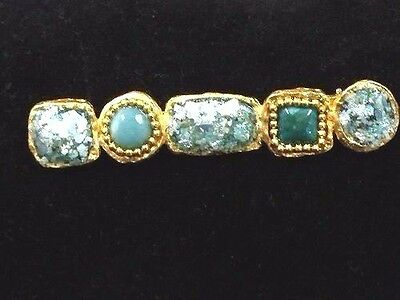 Roman Glass Ancient  Fragment 200 B.C Women's Jewelry Gold Brooch