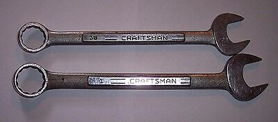 2 Craftsman 7/8'' & 1'' Combination Wrenches Vintage V Series Made in USA
