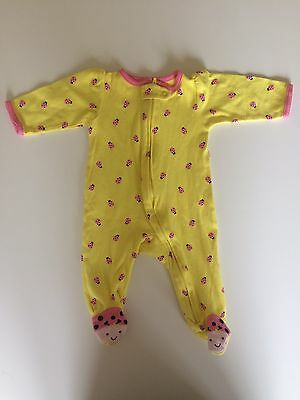 Just One You Carter's Yellow Pink Ladybug Zip One-Piece Footed Sleeper, 6 Months