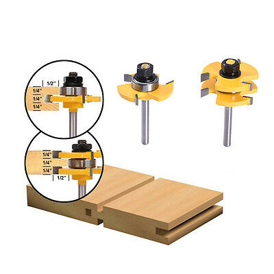 2 PCS Tongue and Groove Router Bit Set 3/4'' Stock 1/4'' Shank Cutter Tool
