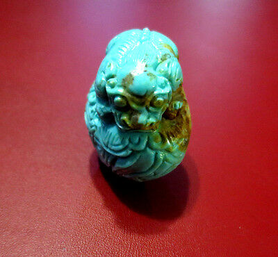 Very Rare Antique Chinese Lion With Pig Turquoise Hand Carved Pendant