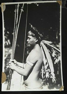 Vintage Original Amazon Tribe Shuar Photo Peruvian Indian Forrest Peru Hunter