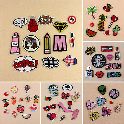 Embroidered Sew Iron On Patch Badge Bag Fabric Clothes Applique Craft Set 1~13pc