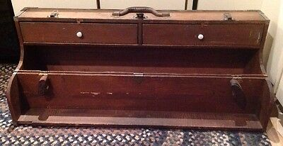 Antique Vintage Travelers Trunk Suitcase Wood Chest Tools Horseshoes Linens
