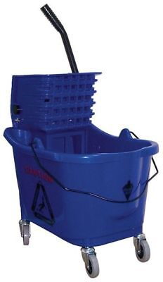 TOUGH GUY 5CJH6 Mop Bucket and Wringer, Blue, Side Press