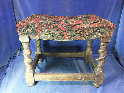 Vintage Beech Stool With Upholstered Seat - Early 20th C [3303]